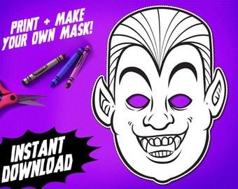 PRINTABLE Dracula Coloring Mask, kids paper vampire halloween mask, DIY halloween costume, great for Halloween parties, instant download PDF