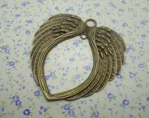 3 pcs of antique bronze color metal large heart angel wing pendant charm , 69*65mm , MP339