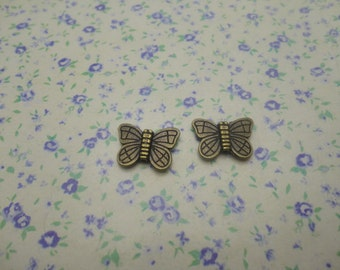 50 pcs of antique bronze color metal butterfly bead pendant charm , 15*11mm , MP393