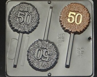 "50TH ""50"" Anniversary / Birthday Lollipop Chocolate Candy Mold 3385"