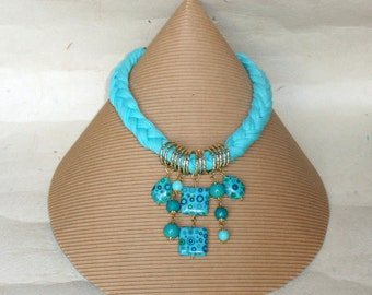 Braid necklace with turquoise Ribbon