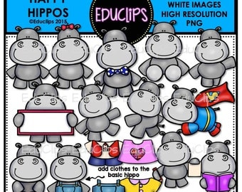 Happy Hippos Clip Art Bundle (Color and B&W)