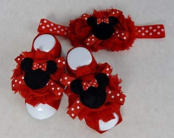 Baby Barefoot Sandals MTM Headband, Barefoot Sandals,Shabby Sandals,Minnie Mouse Barefoot Sandals,Baby Sandals, First Baby Shoes