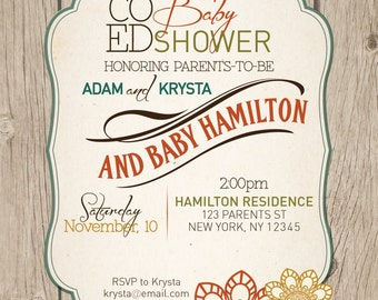 Co-ed (optional) Fall baby shower invitation