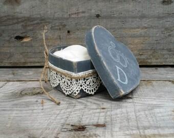 Dark Gray Rustic Ring Bearer Heart Shaped Pillow Box, Rustic Ring Bearer Pillow Alternative, Wedding Ring Holder, Personalized Ring Box