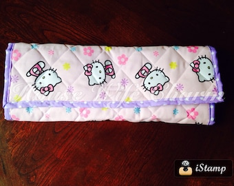 Hello Kitty Pink Purple Extra Large Travel Changing Pad with wipe and diaper pocket- Ready to ship!