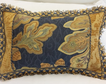 10 x 14 Blue and Gold Woven Pattern Pillow Cover with Tassel Trim