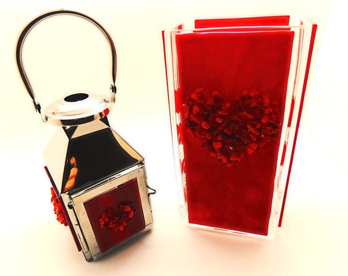 Tall red glass vase. Quirky glass panelled rectanglar glass vase Chunky red heart flower vase. Wedding birthday housewarming valentine gift.