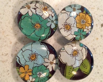 Glass Magnets - Set of 4 - Black Floral