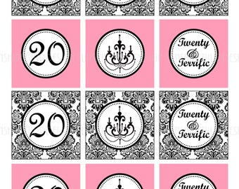 20th Birthday Pink and Black Printable DIY Party Tags Sticker Labels and Cupcake Toppers by SunshineTulipdesign