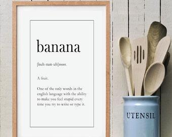 BANANA Funny Wall Art | Definition Print | Christmas Gift Idea | Printable Art | Instant Download PDF