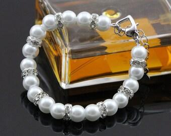 Glass pearl bracelet,ivory pearl bracelet,crystal bridal bracelet,wedding bracelet rhinestone,wedding jewelry bridesmaid bracelet pearl gift