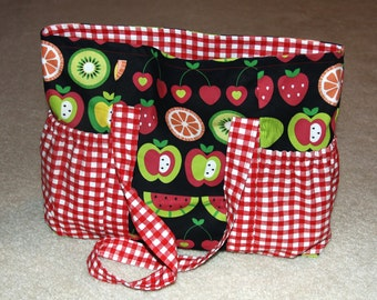 Large Tote Bag with Side Pockets - Fruit and Red Plaid