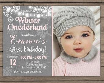 Winter ONEderland invitation Birthday party Girl Birthday Snowflakes Onederland invite Winter birthday party Grey Pink DIY Digital PRINTABLE