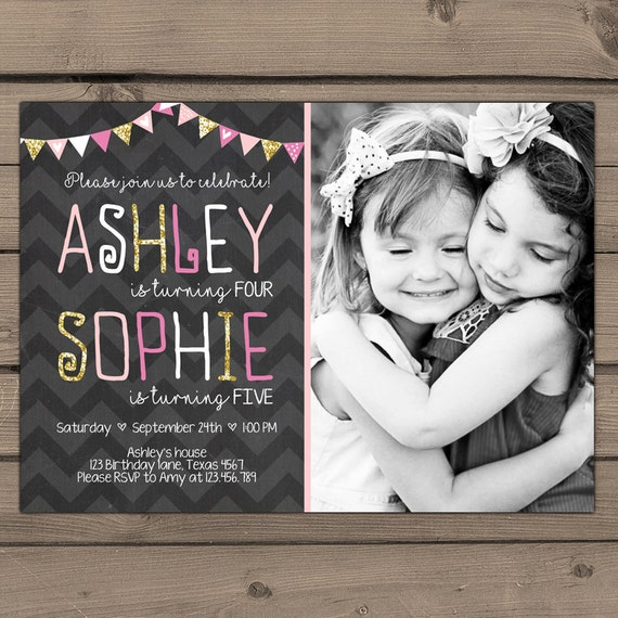 Joint Birthday Invitation Girls Joint Birthday Party