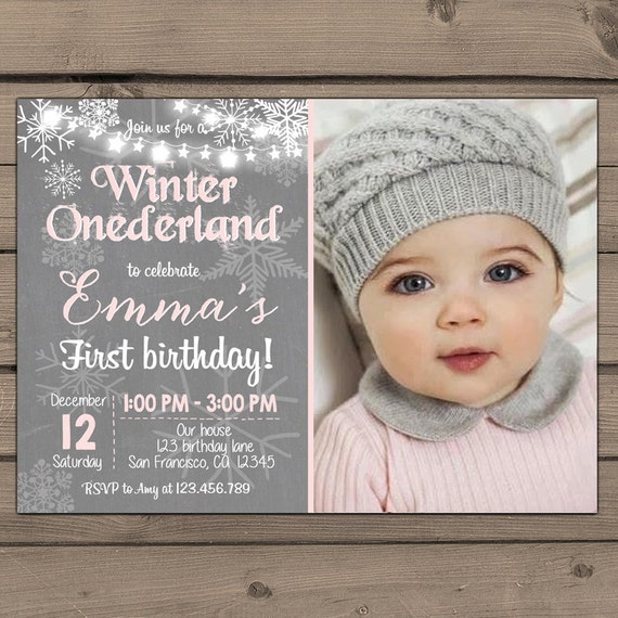 Winter ONEderland Invitation Birthday Party Girl Birthday