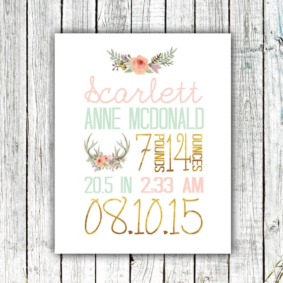 Birth Announcement Print, Birth Stats, Baby Girl, Floral, Antlers, Pink Gold and Mint #05