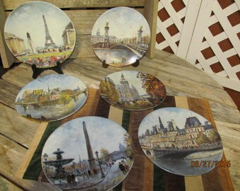 Sale was 54.73~ Vintage Limoges Porcelain Plates Premiere Edition Numbered Scenes of Paris France set of 6 Dali Signed