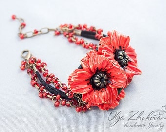 Bracelet with poppies made of polymer clay