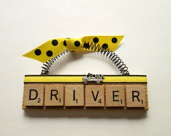 School Bus Driver with Waving Kids Scrabble Tile Ornament