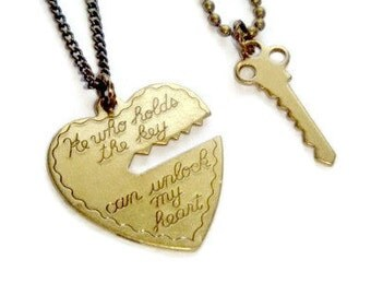 Key To My Heart Necklace Set, Couples Gift, Best Friends Jewelry, His and Hers Set, He Who Holds The Key, Boyfriends Birthday Present