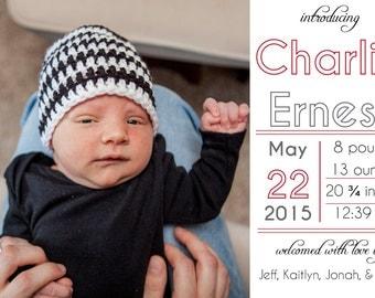Modern birth announcement, baby boy birth announcement, baby girl birth announcement, downloadable birth announcement