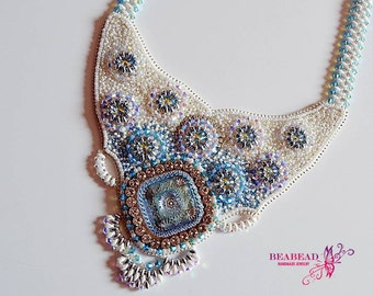 Bead embroidery jewelry, Bead embroidery necklace, handmade jewelry, Swarowski jewelry