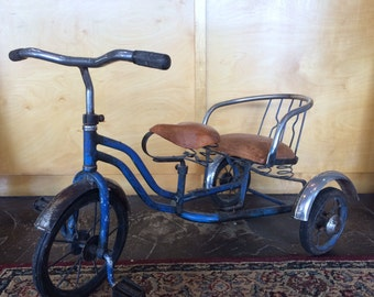 Vintage Small Blue Tandem Tricycle Caribbean