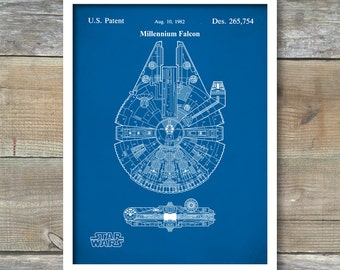 Patent Print, Star Wars Millennium Falcon, Star Wars Patent Poster, Star Wars Patent Print, Rogue One, Star Wars Art, P153