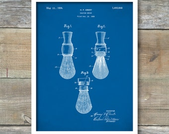 Shaving Brush Patent, Shaving Brush Poster, Shaving Brush Art, Shaving Brush Decor, Bathroom Poster, Barbershop Art, Shaving Blueprint, P186