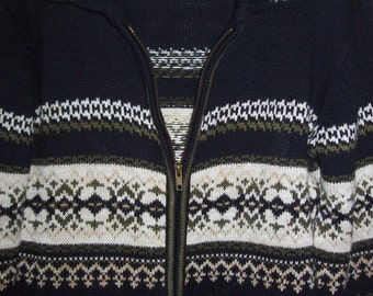 Vintage Heirloom Collectibles Fair Isle Sweater, Zips Up Front, Greaaaat Sweater Large