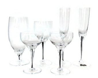 Belfor Exquisite Bar Glasses, Mid Century Crystal Cocktail, Wine, Cordial Starter Set, Black Stem