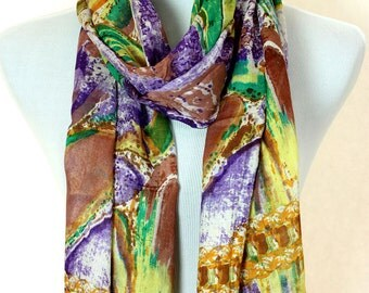Multicolor Abstract Print Scarf (Purple)