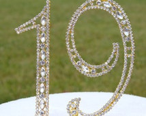 """New 5"""" Gold Rhinestone NUMBER Nineteen (19) Crystal Cake Topper Nineteenth 19th Birthday Parties Bling Wedding Free Shipping CT078"""