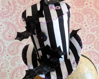 Halloween Mini Top Hat,The Bat Attack Striped Mini Top Hat,Gothic Tea-party Mini Hat - Ready to Ship