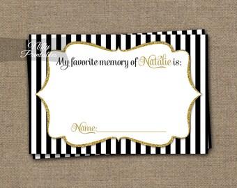 Memory Cards -  Your Favorite Memory Card - Black Gold Memories Card - Printable Black White Stripes - Elegant Birthday Party Games - BGL