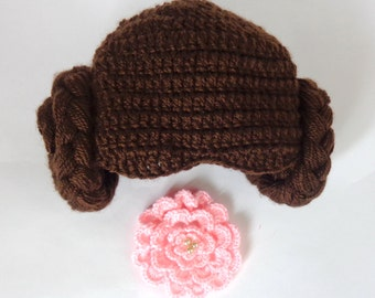 Princess Leia Hat From Star Wars For Girl Baby, Newborn Costume With Big Flower Halloween / Cosplay Wig