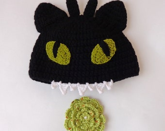 Toothless Hat From How to Train Your Dragon With Flower Pin Newborn Adult Photo Baby Hat With Big Flower Halloween