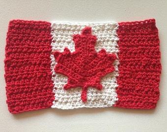 Crocheted Canadian Flag Dishcloths home decor housewarming gift Oh Canada Maple Leaf