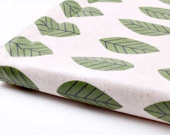 Laminated Linen Fabric Green Leaf By The Yard