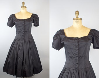 1950s Black Satin Party Dress / 50s Dress