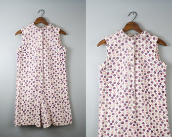 70s Playsuit Romper / Floral Playsuit