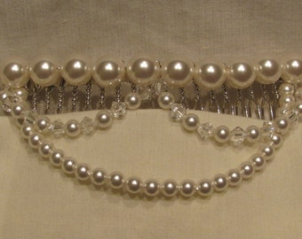 Swarovski Crystal White Pearl & Swarovski Crystal Clear Hair Comb/ Handmade/ Hand Crafted/ Bride