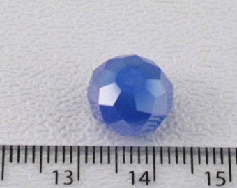 Blue Glass Crystal Faceted Rounds (18 beads) 9x12mm