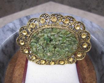 Large oval shaped Jade Brooch