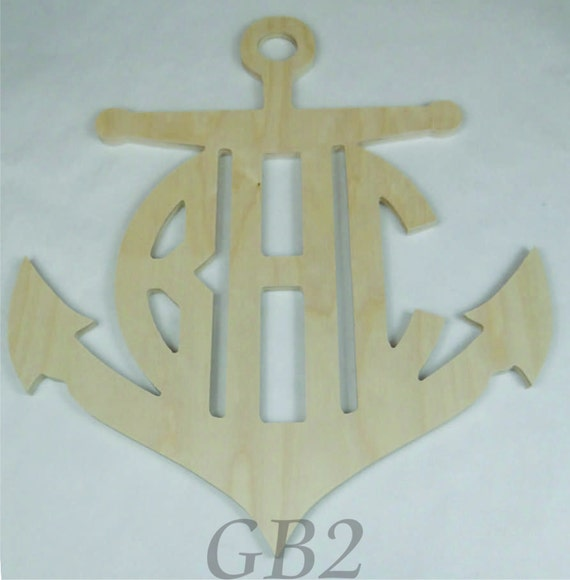 Items similar to wooden anchor monogram door decor on etsy for Anchor door decoration