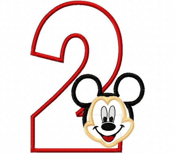 Mr. Mouse Birthday Number two second 2nd 2 Applique Design Applique Machine Embroidery Design