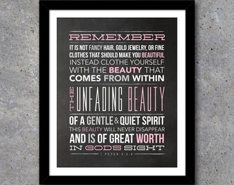 Unfading Beauty Scripture Wall Art – Printable Teenage Girl Room Decor In both white and chalkboard backgrounds! – Teenager Girl Gift