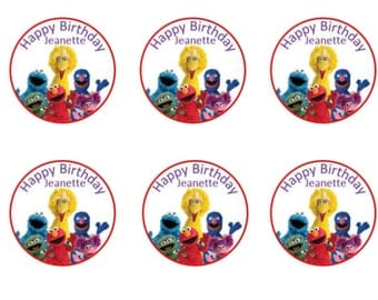 Yellow bird and Friends Edible Image Cupcake Toppers