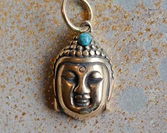 Bronze Buddha Head Pendant Turquoise Setting,Buddha Head Charm,Budah,Buddha Jewellery,Buddha Charms,Budah, Meditation, BS15-043